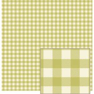 green and cream woven plaid-look pattern