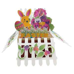 5x7 easter fence pop up card in a box