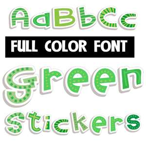 green stickers color font