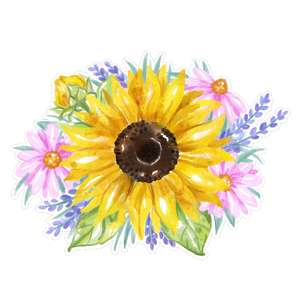 sunflower bouquet watercolor