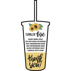 tumbler with straw sunflower care card