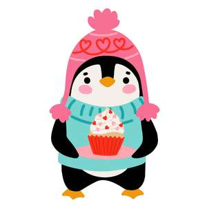 valentine's day penguin with cupcake
