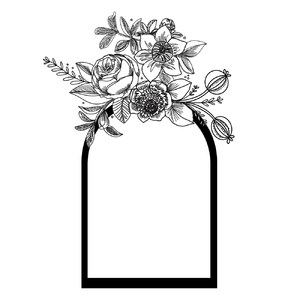 black flower frame