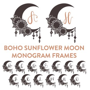 boho sunflower moon full color monogram font