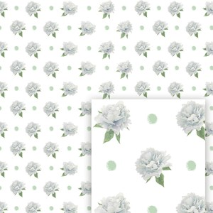 flower digital pattern blue peony and pois