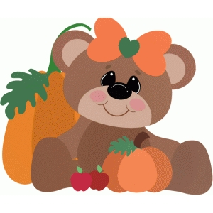 fall girl bear sitting with pumpkins & apples