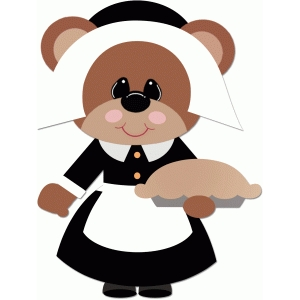 pilgrim girl bear holding pie