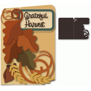 grateful harvest leaves shaped 5x7 card