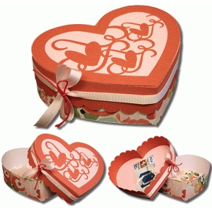 3d gift card heart box