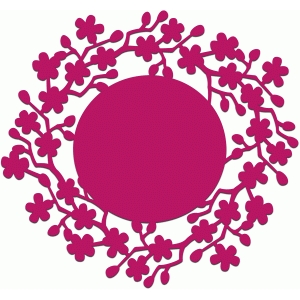 cherry tree lace edged circle background or doily