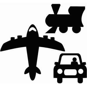 plane train and automobile silhouettes