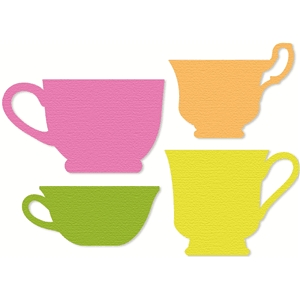4 tea cup silhouettes