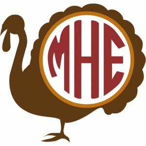 turkey monogram frame