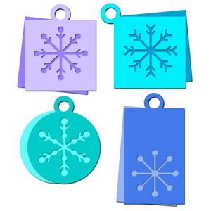snowflake tags set
