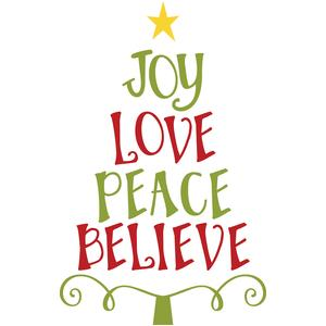 joy love peace believe christmas tree