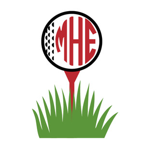 golf ball & tee monogram