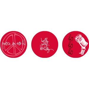 red christmas circle tags