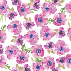 watercolor anemones pattern