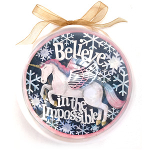 believe in the impossible unicorn ornament