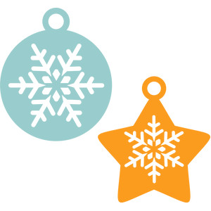 ornaments snowflakes tag