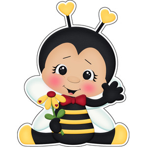 bee mine valentines boy bee holding flower sticker die cut