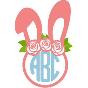 pretty easter bunny monogram frame