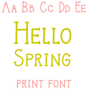 hello spring print font