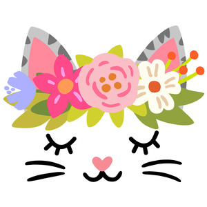 cat face with flower crown