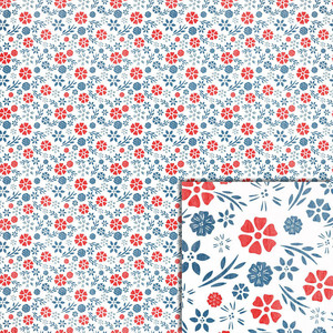 red and blue flower background paper