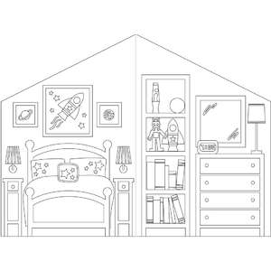 coloring book dollhouse space bedroom