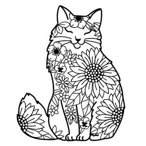 long haired cat flower mandala