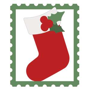christmas postage stamp with stocking
