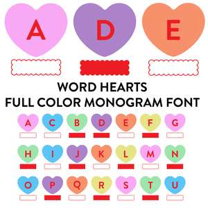 word hearts full color monogram font