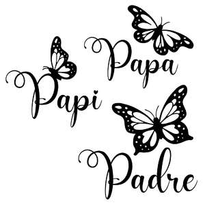 dad spanish butterfly words - papa, papi, padre