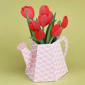 watering can with tulips box card