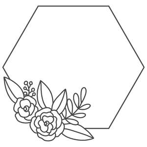 floral bouquet hexagon frame