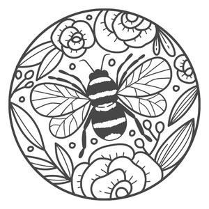 bee circle flowers frame