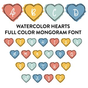 watercolor hearts full color monogram font