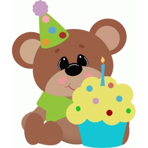 birthday bear with cupcake