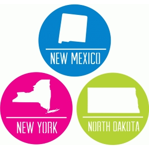 state badges - nm ny nd