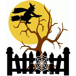 witch with moon and tree halloween