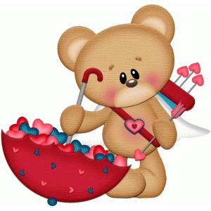 cupid bear with umbrella of hearts pnc