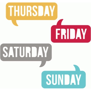 days of the week speech bubbles