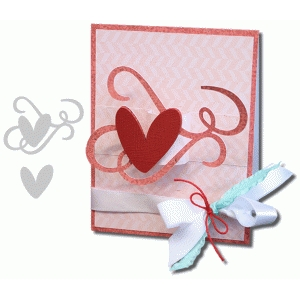 3d a2 swirly heart pop-up card