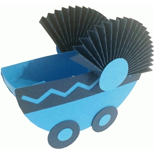 baby carriage treat container-boy