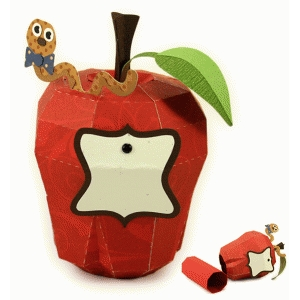 apple delicious 3d box with worm