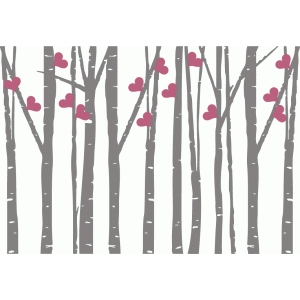 birch trees with hearts - horizontal