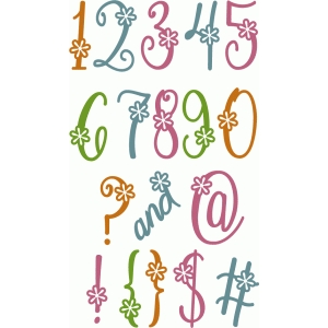 cute flourish flower alpha - numbers punctuation