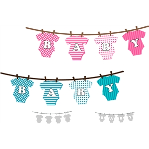 baby word clothes line border