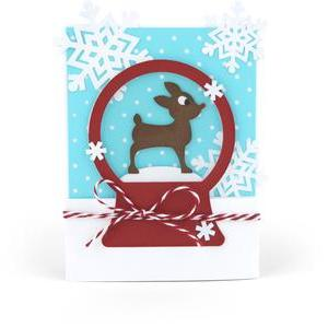 snow globe reindeer card